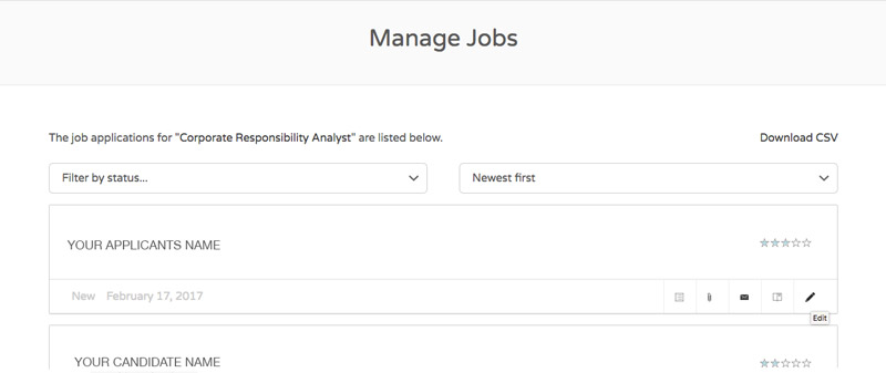 Manage Applicants